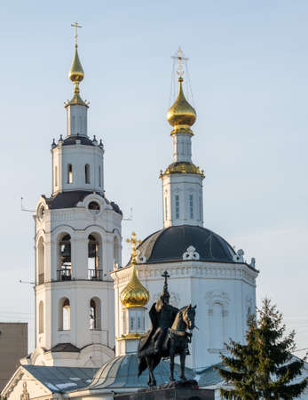 Monument to Russian Tsar Ivan IV the terrible and Epiphany Cathedral in the city of Orel.
