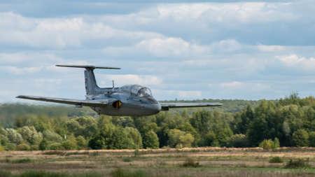 September 12, 2020, Kaluga region, Russia. The Aero L-29 Delfin training aircraft performs a training flight at the Oreshkovo airfield.