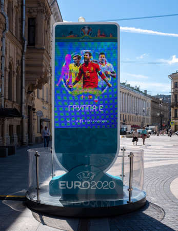 June 12, 2020, Saint Petersburg, Russia; countdown Clock to the start of the European football Championship 2020, postponed due to the coronavirus pandemic to the summer of 2021.