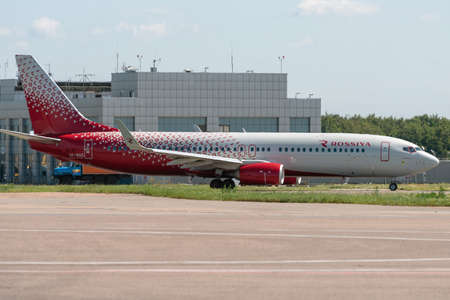 July 2, 2019, Moscow, Russia. Airplane Boeing 737-800 Rossiya - Russian Airlines at Vnukovo airport in Moscow. 新闻类图片