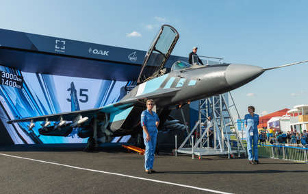 August 30, 2019. Zhukovsky, Russia.Russian multirole fighter MiG-35 that is designed by Mikoyan, a division of the United Aircraft Corporation (UAC). Marketed as a 4 ++ generation jet fighter at the International Aviation and Space Salon MAKS 2019.