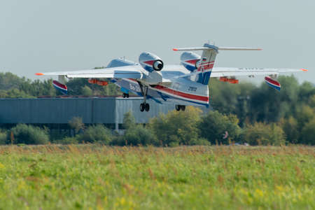 August 30, 2019. Zhukovsky, Russia. Multipurpose amphibious aircraft Beriev Be-200 Altair at the International Aviation and Space Salon MAKS 2019.