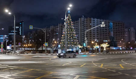January 22, 2020, Moscow, Russia. New Year tree on October Square in Moscow.