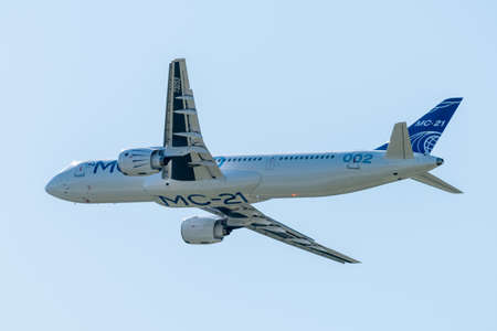 August 30, 2019. Zhukovsky, Russia. Promising Russian medium-range narrow-body passenger aircraft Irkut MC-21 at the International Aviation and Space Salon MAKS 2019.