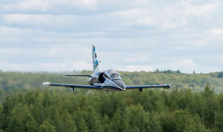 September 12, 2020, Kaluga region, Russia. The Aero L-39 Albatros training aircraft performs a training flight at the Oreshkovo airfield. 新闻类图片