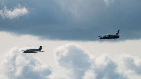 September 12, 2020, Kaluga region, Russia. Training aircraft Aero L-39 Albatros and Aero L-29 Delfin perform a training flight at the Oreshkovo airfield.