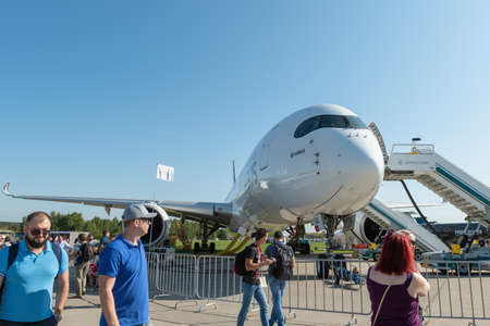 August 30, 2019. Zhukovsky, Russia. long-range wide-body twin-engine passenger aircraft Airbus A350-900 XWB Airbus Industrie at the International Aviation and Space Salon MAKS 2019. 新闻类图片