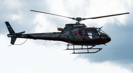 September 12, 2020, Kaluga region, Russia. Helicopter Aerospatiale AS.350 Ecureuil at the airport Oreshkovo.