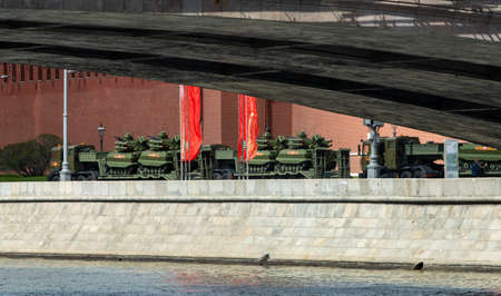 May 7, 2021, Moscow, Russia. Uran-9 multi-functional robotic combat complexes (RTK) on the Kremlin Embankment in Moscow.
