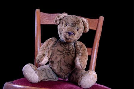 antique chair: Antique Teddy sitting on an antique chair