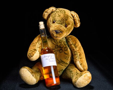 the drinker: Antique Teddy sitting with a bottle of honey liqueur on a black background Stock Photo