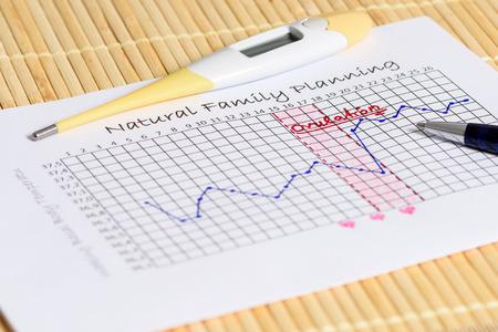 planificacion familiar: Planificación Familiar Natural: esperando el momento adecuado. Termómetro con la curva de la temperatura corporal.