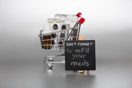 meds: Reminder to refill the meds with shopping cart