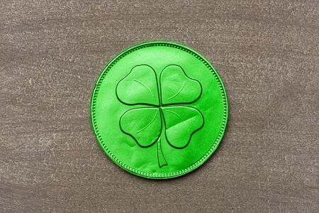 fourleaf: Green chocolate coin with four-leaf clover, wish you luck