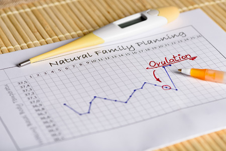 Natural Family Planning: waiting for the right moment. English Version.Thermometer with body temperature curve. Translation: Natural Family Planning Title ovulation middle Waking Basal Body Temperature Side