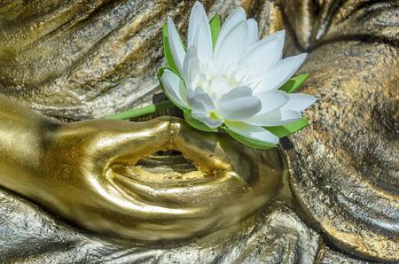 dhyana: Golden Buddha statue, close up delle mani giunte (Dhyana Mudra) con un fiore in cima