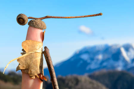 glove puppet: Wanderlust: symbolized by a natural clothed glove puppet Stock Photo