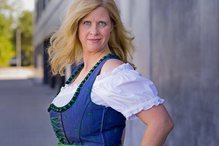 pinafore: Beautiful Bavarian Woman with long blond hair in traditional clothing - ready for Oktoberfest, Series 221