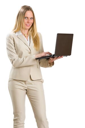liberated: Attractive Caucasian woman in business suit with a notebook, isolated on white.
