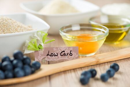 low carb diet: Sweets on diet: Ingredients for low carb cupcake cooking.