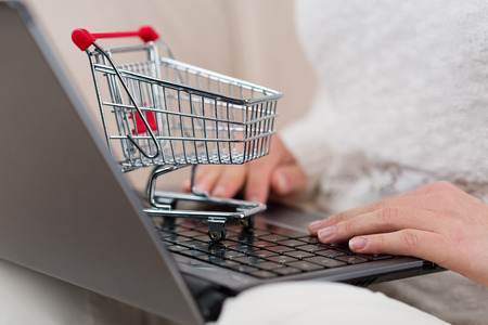 woman shopping cart: Woman with notebook and mini shopping cart typing her online order.