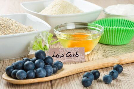 carb: Sweets on diet: Ingredients for low carb cupcake cooking.