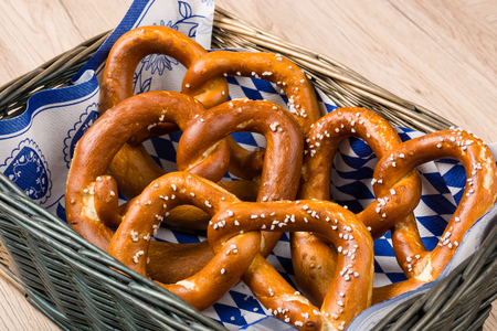 breadbasket: Breadbasket with traditional Bavarian pretzels. Stock Photo