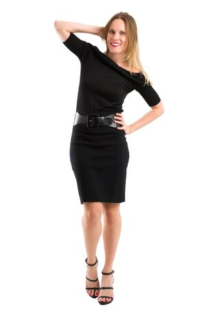 chic: Full body portrait of an attractive blonde woman posing in her elegant black dress, isolated on white Stock Photo