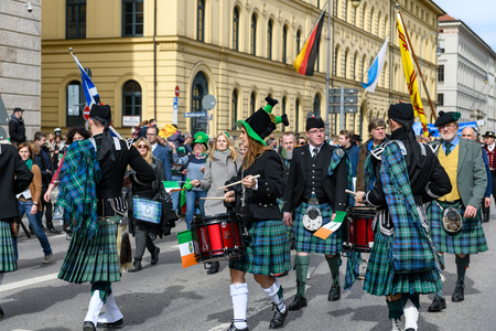 MUNICH, BAVARIA, GERMANY -  MARCH 11, 2018: Drummer in traditional Scottish clothes at the St. Patricks Day Parade.
