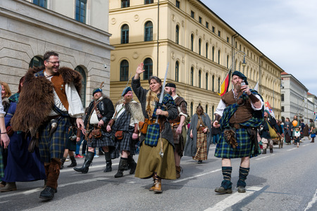 MUNICH, BAVARIA, GERMANY -  MARCH 11, 2018: People in clothes of the Middle Ages at the St. Patricks Day Parade.