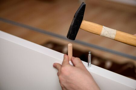 Handyman DIY construction at home: close up on hands hammering a wooden peg in furniture.