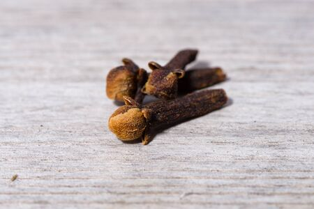 Close up on group of dried clove for cooking.