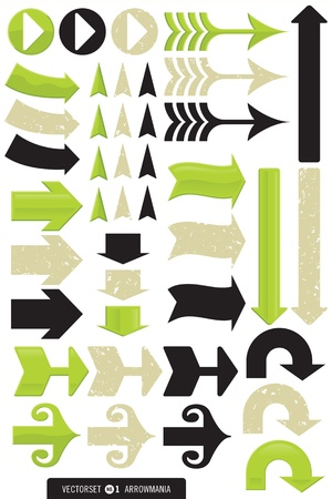 Set of 11 Different Arrow Vectors in 3 styles, plain, grunge, and shiny.