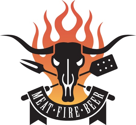bbq: Barbecue Logo featuring a cow skull and crossed untensils with flames and a banner proclaiming the holy triumvirate of barbecue: meat, fire and beer. Illustration