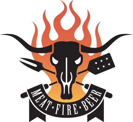 carne a la brasa: Logo de barbacoa con un cr�neo de vaca y cruz� untensils con llamas y una pancarta proclamando el triunvirato santo de la barbacoa: la carne, el fuego y la cerveza. Vectores