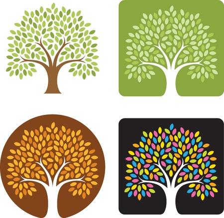 Gestileerde boom Logo Illustratie in vier kleurencombinaties, lente, zomer, herfst, en snoep gekleurde extravaganza! Zeer geschikt voor logo's!
