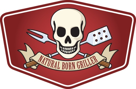 Natural Born Griller Barbecue Logo. Based on the classic skull and crossbones pirate flag. Features skull and crossed barbecue utensils and a banner proclaiming the universal barbecue credo: Natural Born Griller!
