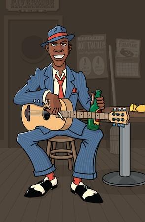 無名ブルースマン ディープサウス ロードハウスでギターを果たしています。 写真素材 - 11243568