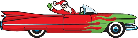 Cool Christmas Caddy. You better watch out, you better not cry... Santa Claus is coming to town in a hopped-up convertible! Vector