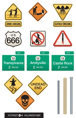 which: Set of 12 Halloween Sign Vectors. Humorous street signs with Halloween images. Great for decorations, invitations, ads and more! Includes three different postpole designs which work with all of the signs.