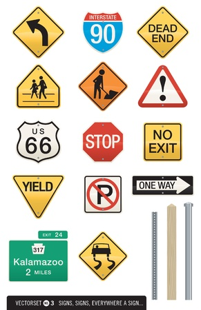 Set of 14 Highway Sign Vectors Vector