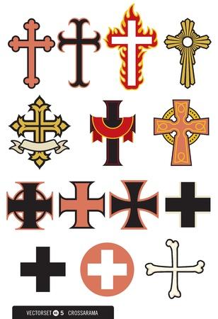 cruz roja: Conjunto de 14 vectores de la Cruz Vectores