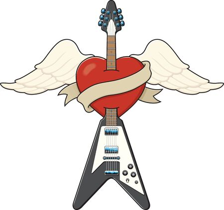 Tattoo style guitar illustration 矢量图像