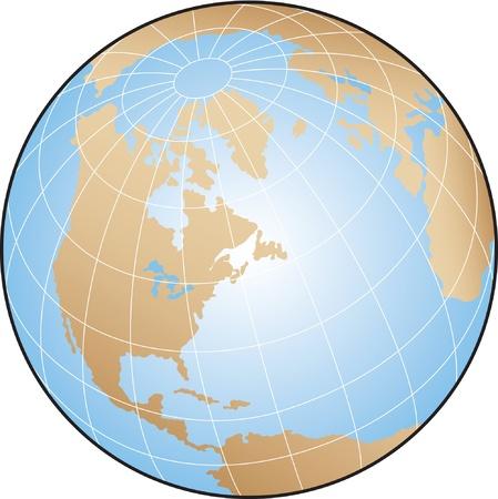 north pole: World globe illustration focusing on North America with lines of latitude and longitude.