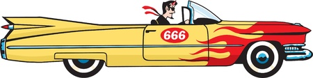50s: Guy riding a car with number 666 illustration