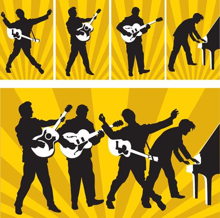 サン ・ レコードのロックン ロールの英雄  イラスト・ベクター素材