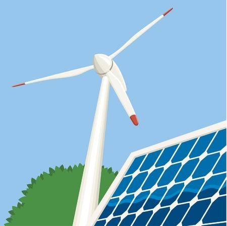 Energia eolica e solare Archivio Fotografico - 11398744