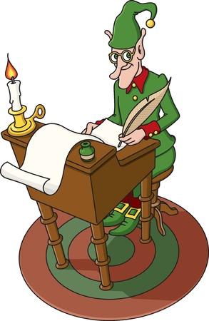 Christmas Elf with Santas List Vector
