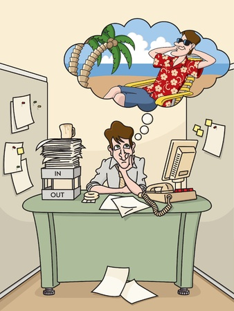 cubicle: Office worker dreams of tropical vacation