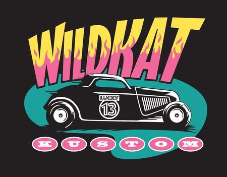 Wildkat Kustom hotrod logo Vector